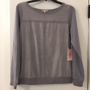 NWT Juicy Couture Gray Sueded Long Sleeve Shirt